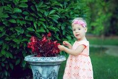 Mädchen nahe einem Blumenbeet Stockbild
