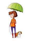 Mädchen nimmt den Hund für einen Weg Stockbilder