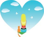 Mädchen oder Frau mit Katze Lizenzfreies Stockfoto