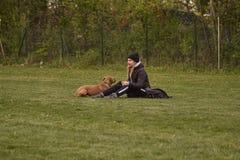 M?dchen am Park mit dem Hund stockfotos