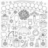 Mädchen-Partei-Gekritzel-Satz Stockbilder