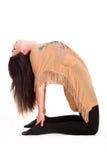 Mädchen pilatos Yoga lokalisiert auf weißer Hintergrundturnhallenübung lizenzfreies stockbild