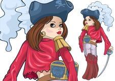 Mädchen-Pirat lizenzfreie abbildung