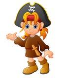 Mädchen-Piratenkarikatur Stockfoto