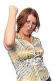Mädchen rüttelt Faust lizenzfreies stockbild