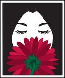 Mädchen-riechende Blume stock abbildung