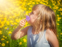 Mädchen-riechende Blumen stockfotografie