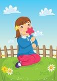 Mädchen-riechende Blumen-Vektor-Illustration stock abbildung
