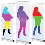 Mädchen rollen an oben im cmyk und in rgb-Farbe Stockbilder