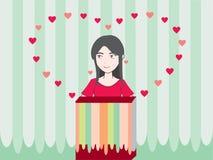 Mädchen-süße und nette Karikatur lizenzfreie abbildung
