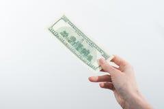 Mädchen sagte 10000 Dollar in der Hand Stockbilder