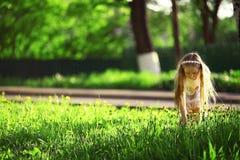 Mädchen sammelt Blumen Lizenzfreie Stockfotos