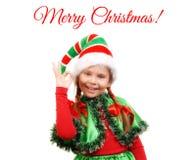 Mädchen - Sankt-` s Elfe, die Zeichen O.K. zeigt lizenzfreie stockfotografie