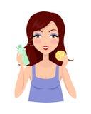 Mädchen sauber ihr Gesicht mit Lotion und Schwamm lizenzfreie abbildung