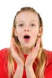 Mädchen schaut überrascht Stockfotos