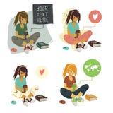 Mädchen-Schreibens-Textnachricht auf Telefonsatz Stockbild