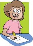Mädchen am Schreibtisch lizenzfreie abbildung