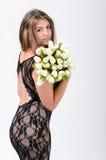 Mädchen in schwarzem Kleid 3 stockbilder