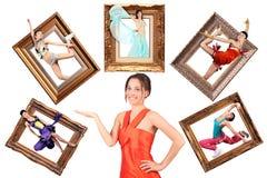 Mädchen showes multi Aufgabe viele Frauen im Bilderrahmen stockfotos
