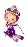 Mädchen-Skifahren Lizenzfreie Stockbilder