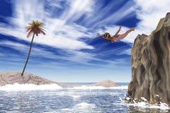 Mädchen springt in das Meer Stockfotografie