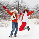 Mädchen springt am Winterpark Stockfotos