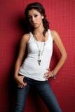 Mädchen-tragende Jeans lizenzfreies stockbild