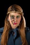 Mädchen-tragendes Stirnband und funkelndes Beleuchtungs-Make-up Lizenzfreies Stockbild