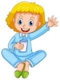 Mädchen in Trinkmilch der blauen Pyjamas stock abbildung