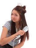 Mädchen tut die hairdress, getrennt. stockfoto