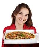 Mädchen u. Pizza Stockbilder