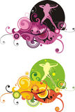 Mädchen und abstraktes Element vektor abbildung