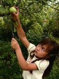 Mädchen und Apfel Lizenzfreie Stockfotos