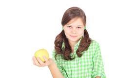 Mädchen und Apfel Stockfoto
