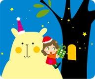 Mädchen- und Bärengeschenke Stockbild
