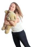 Mädchen und Bärenjunges Lizenzfreies Stockbild