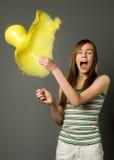 Mädchen und Ballon Stockfotos