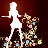 Mädchen und Blumen Stockfotos