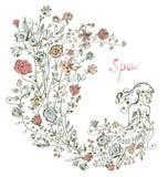 Mädchen und Blumen - Badekurortgraphikillustration Stockfotos