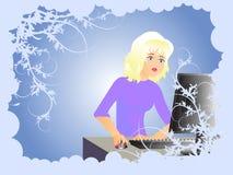 Mädchen und Computer Stock Abbildung