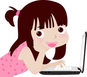 Mädchen und Computer Lizenzfreie Stockfotografie