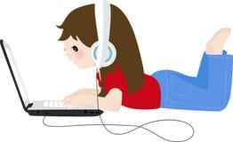 Mädchen und Computer Stockfotos