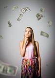 Mädchen und Dollar Lizenzfreie Stockfotos