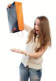 Mädchen und ein Paket von Lizenzfreies Stockfoto
