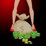 Mädchen und eine große Tasche des Geldes Konzept der Finanzierung Stockfotos