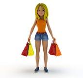 Mädchen und Einkaufstasche der Karikatur 3d stock abbildung
