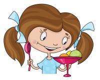 Mädchen und Eiscreme Lizenzfreie Stockfotos