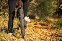 Mädchen und Fahrrad Stockbild