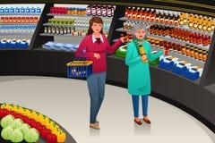 Mädchen-und Großmutter-gehender Einkauf stock abbildung
