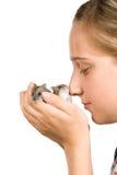 Mädchen und Hamster Stockfotografie